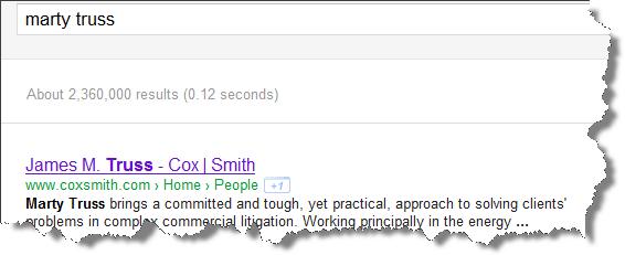 Marty Truss Google result