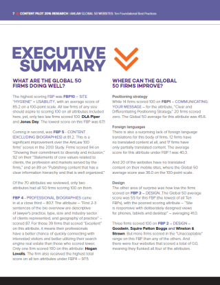 Content Pilot 2016 AmLaw Global 50 Websites Executive Summary